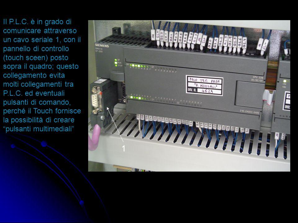 Il P.L.C. è in grado di comunicare attraverso un cavo seriale 1, con il pannello di controllo (touch sceen) posto sopra il quadro; questo collegamento evita molti collegamenti tra P.L.C. ed eventuali pulsanti di comando, perché il Touch fornisce la possibilità di creare pulsanti multimediali