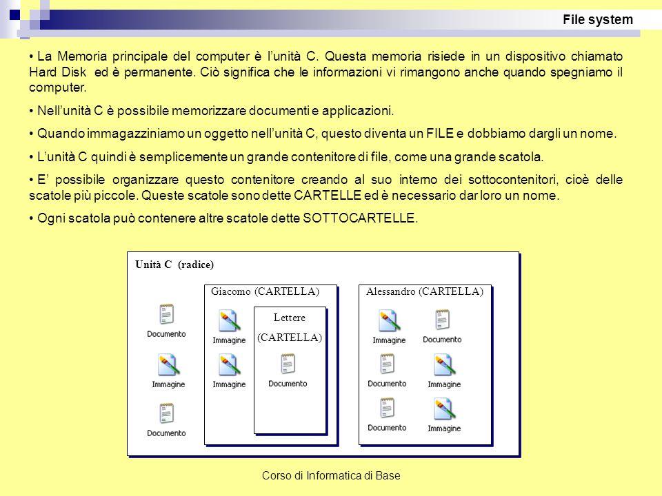 Nell'unità C è possibile memorizzare documenti e applicazioni.