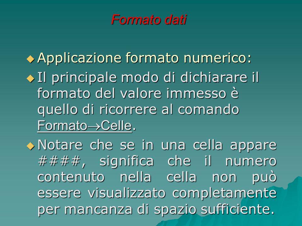 Formato dati Applicazione formato numerico: