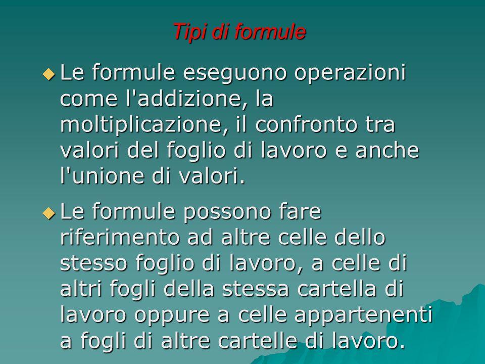 Tipi di formule