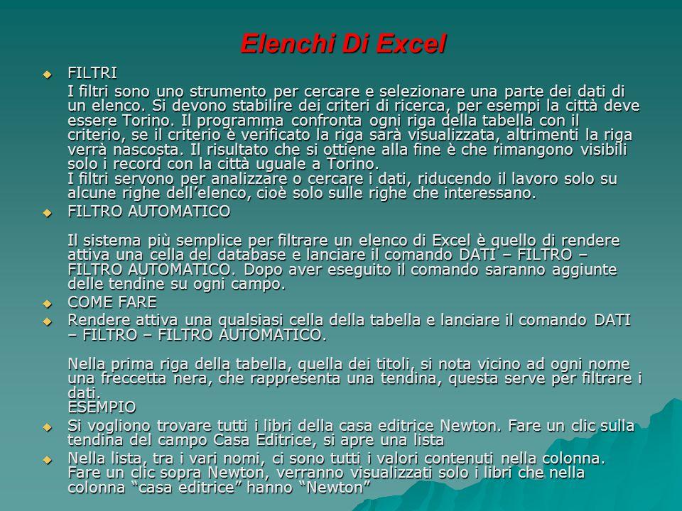 Elenchi Di Excel FILTRI