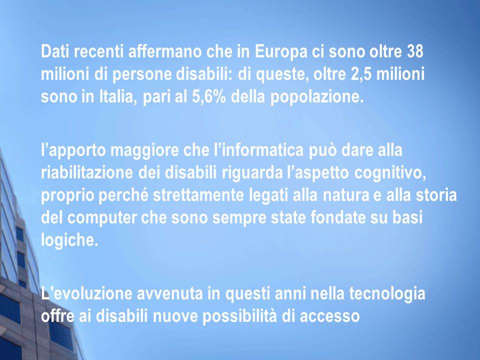 Dati recenti affermano che in Europa ci sono oltre 38 milioni di persone disabili: di queste, oltre 2,5 milioni sono in Italia, pari al 5,6% della popolazione.