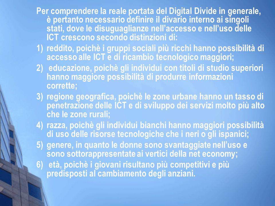 Per comprendere la reale portata del Digital Divide in generale, è pertanto necessario definire il divario interno ai singoli stati, dove le disuguaglianze nell'accesso e nell'uso delle ICT crescono secondo distinzioni di: