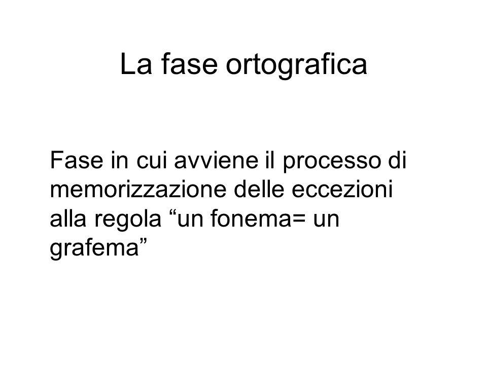 La fase ortografica Fase in cui avviene il processo di memorizzazione delle eccezioni alla regola un fonema= un grafema