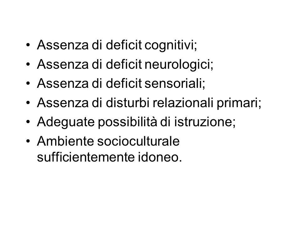 Assenza di deficit cognitivi;