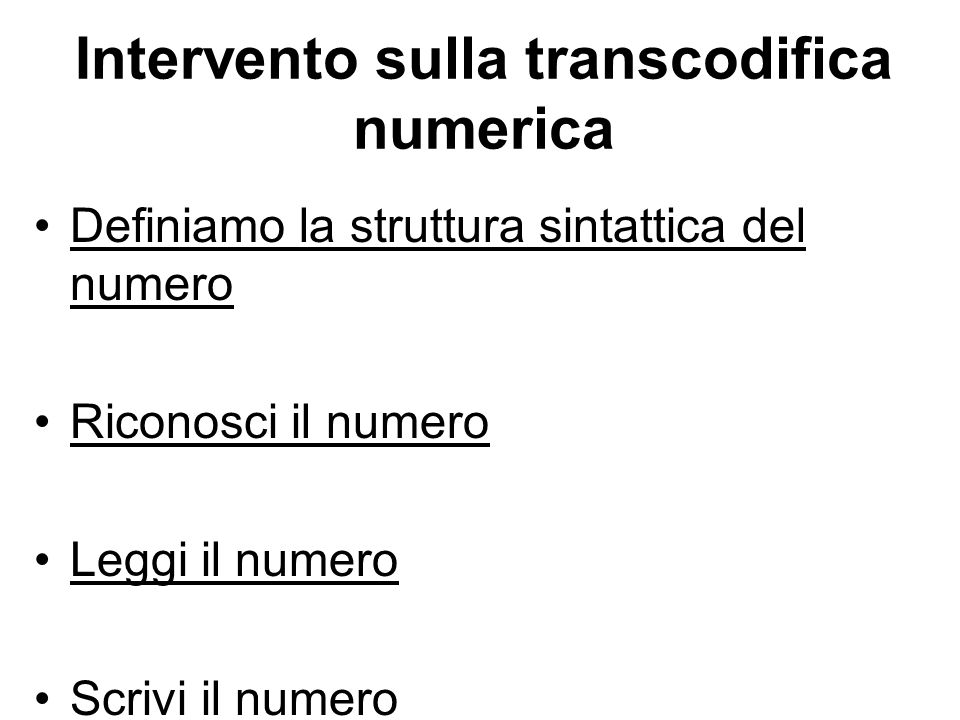 Intervento sulla transcodifica numerica