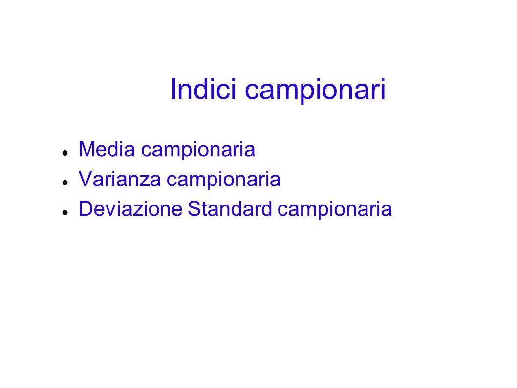 Indici campionari Media campionaria Varianza campionaria