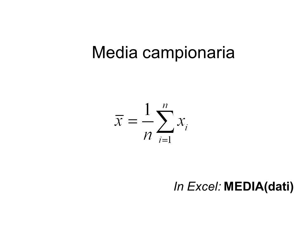 Media campionaria In Excel: MEDIA(dati)