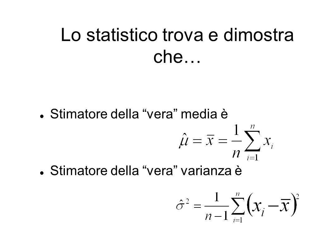 Lo statistico trova e dimostra che…