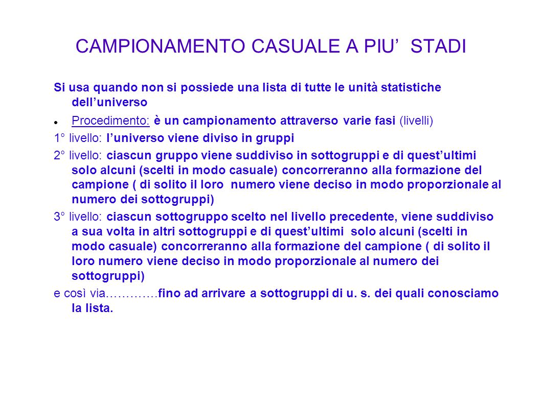 CAMPIONAMENTO CASUALE A PIU' STADI