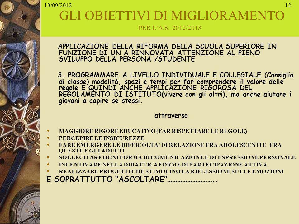 GLI OBIETTIVI DI MIGLIORAMENTO PER L'A.S. 2012/2013