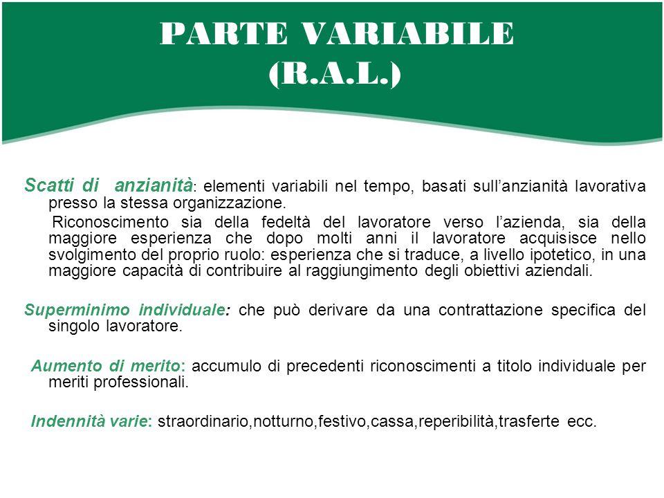 PARTE VARIABILE (R.A.L.) Scatti di anzianità: elementi variabili nel tempo, basati sull'anzianità lavorativa presso la stessa organizzazione.