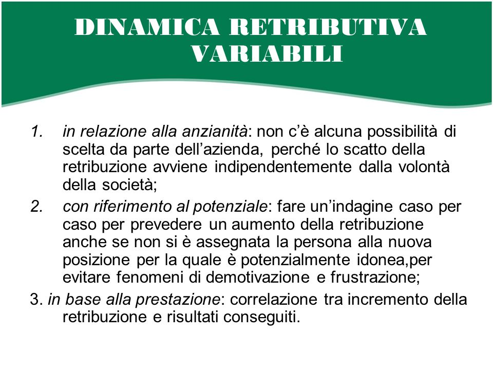 DINAMICA RETRIBUTIVA VARIABILI