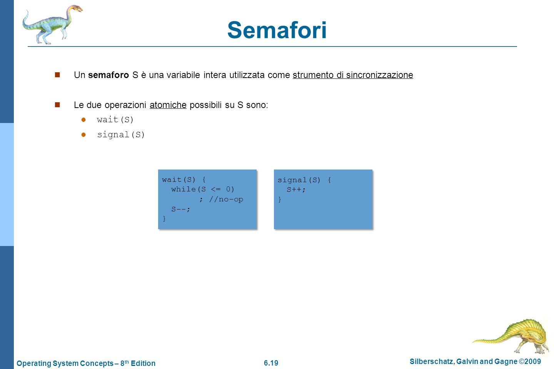 Semafori Un semaforo S è una variabile intera utilizzata come strumento di sincronizzazione. Le due operazioni atomiche possibili su S sono: