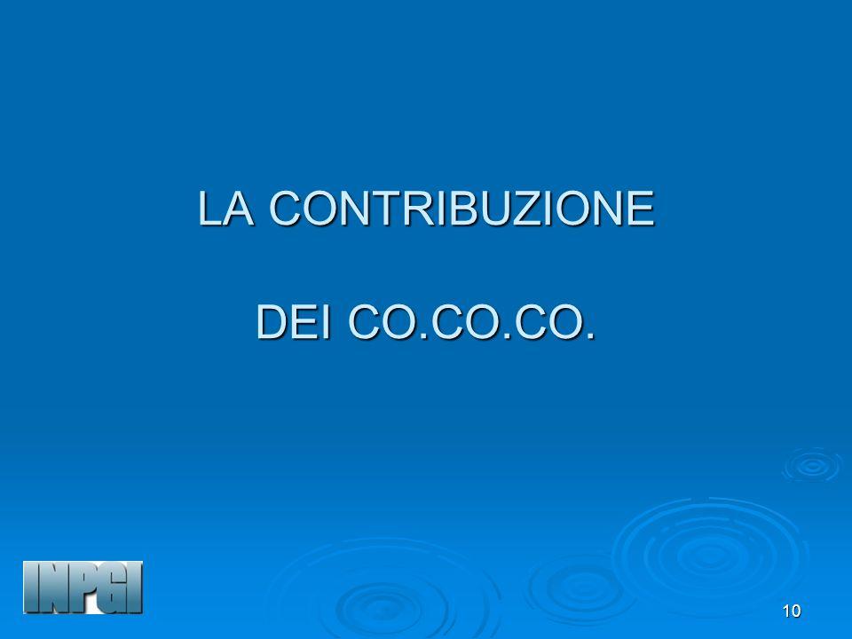 LA CONTRIBUZIONE DEI CO.CO.CO.