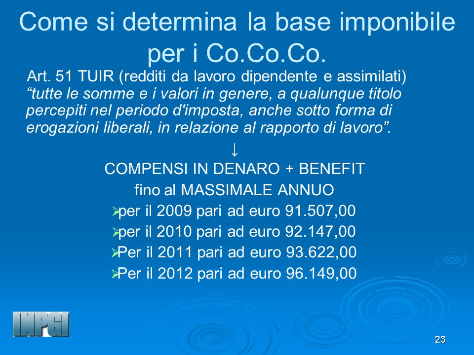 Come si determina la base imponibile per i Co.Co.Co.