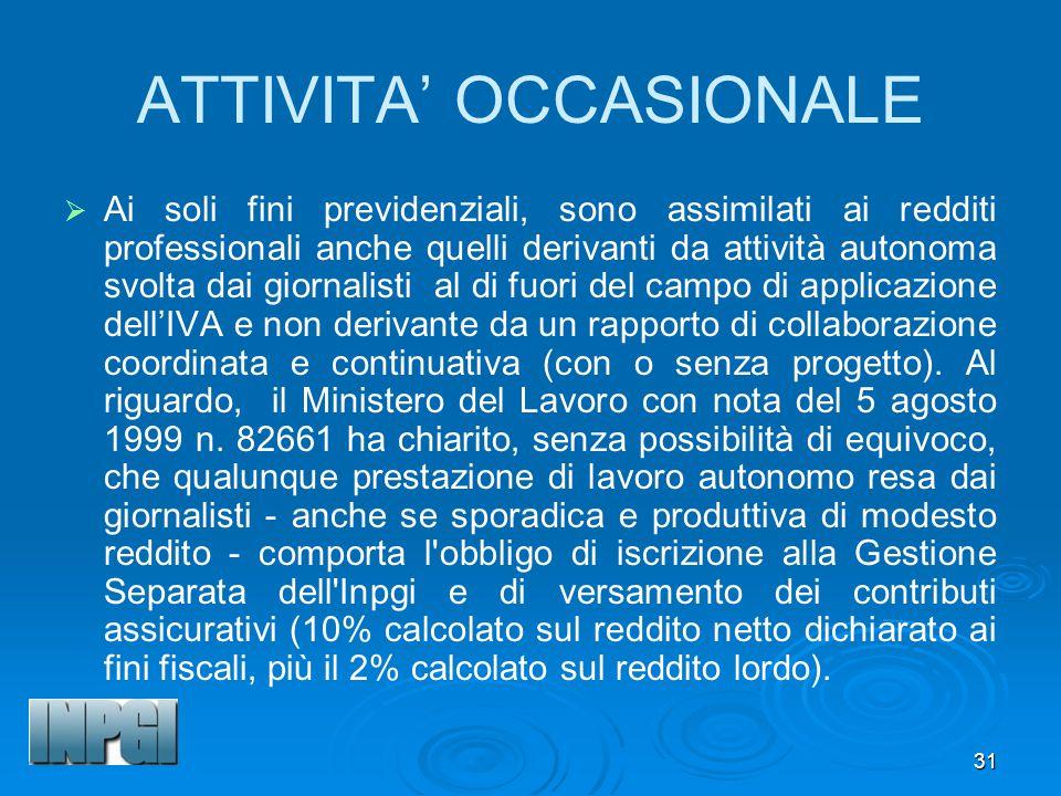 ATTIVITA' OCCASIONALE