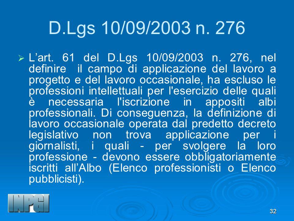 D.Lgs 10/09/2003 n. 276