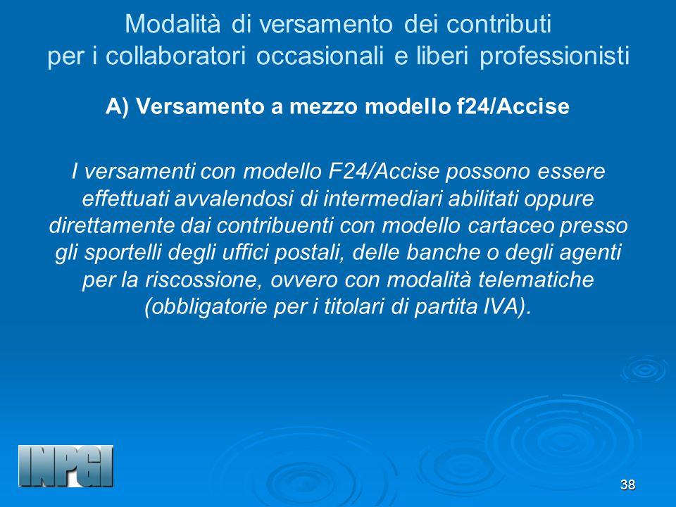A) Versamento a mezzo modello f24/Accise