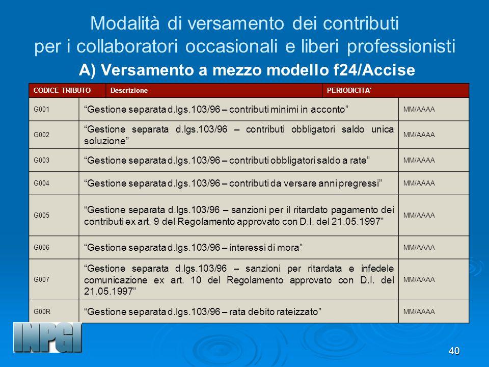 Modalità di versamento dei contributi per i collaboratori occasionali e liberi professionisti A) Versamento a mezzo modello f24/Accise
