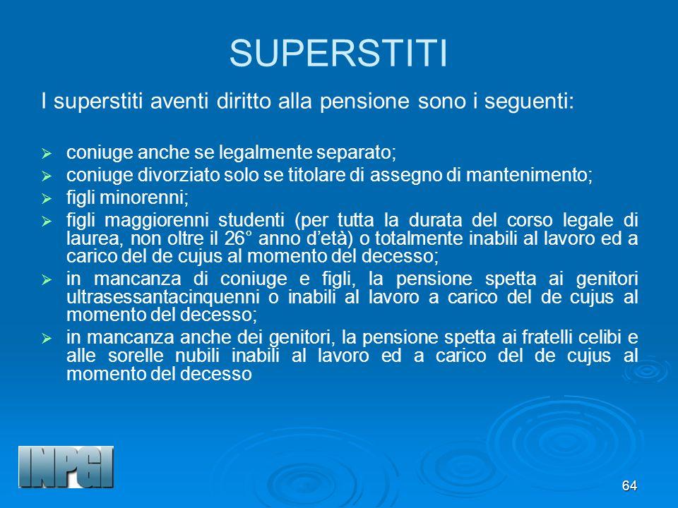 SUPERSTITI I superstiti aventi diritto alla pensione sono i seguenti: