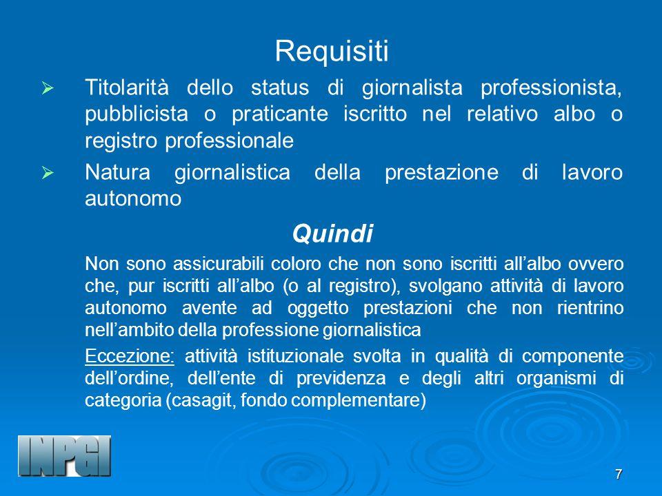 Requisiti Titolarità dello status di giornalista professionista, pubblicista o praticante iscritto nel relativo albo o registro professionale.
