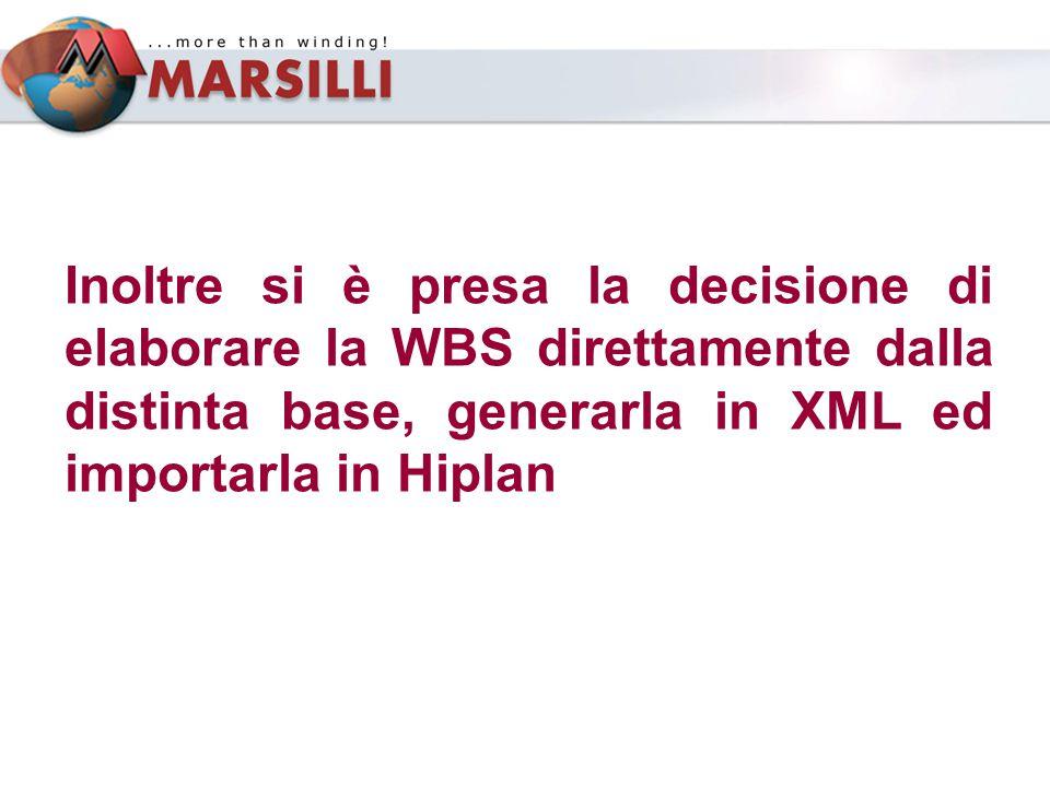 Inoltre si è presa la decisione di elaborare la WBS direttamente dalla distinta base, generarla in XML ed importarla in Hiplan
