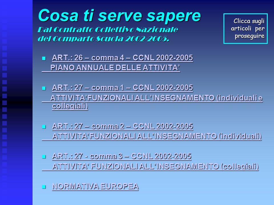 Cosa ti serve sapere Dal Contratto Collettivo Nazionale del Comparto Scuola 2002-2005.