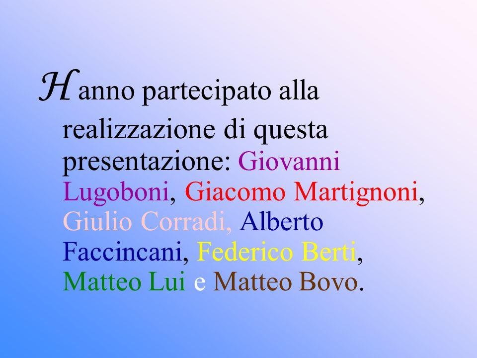 H anno partecipato alla realizzazione di questa presentazione: Giovanni Lugoboni, Giacomo Martignoni, Giulio Corradi, Alberto Faccincani, Federico Berti, Matteo Lui e Matteo Bovo.