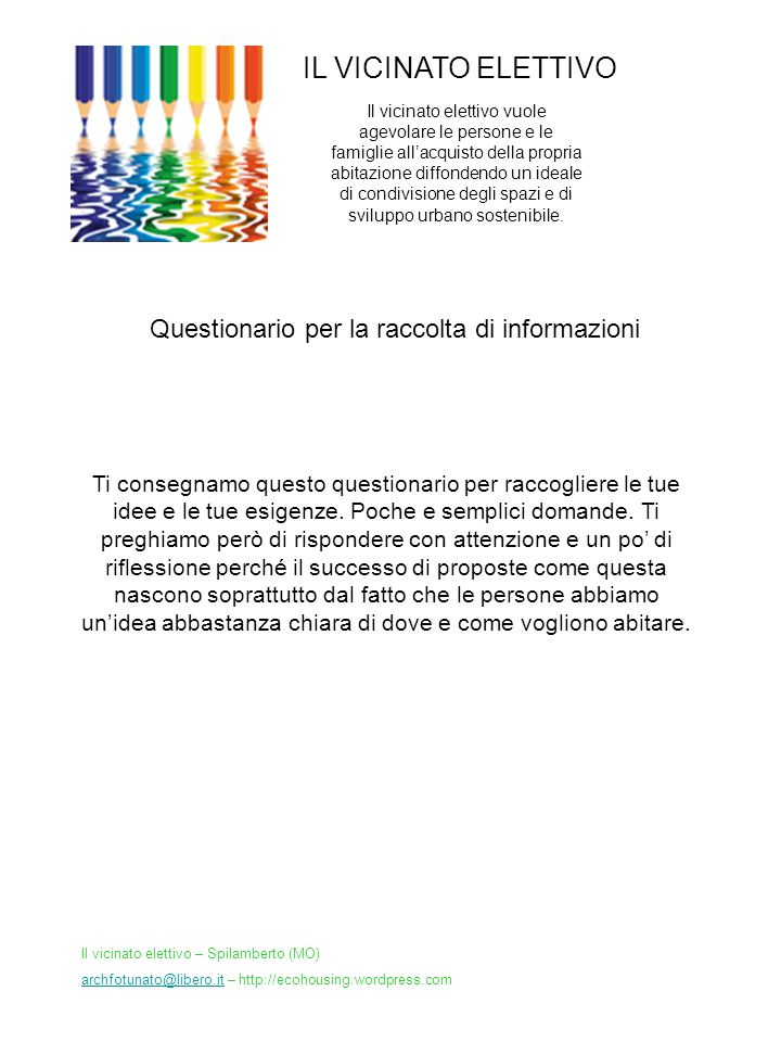 Questionario per la raccolta di informazioni