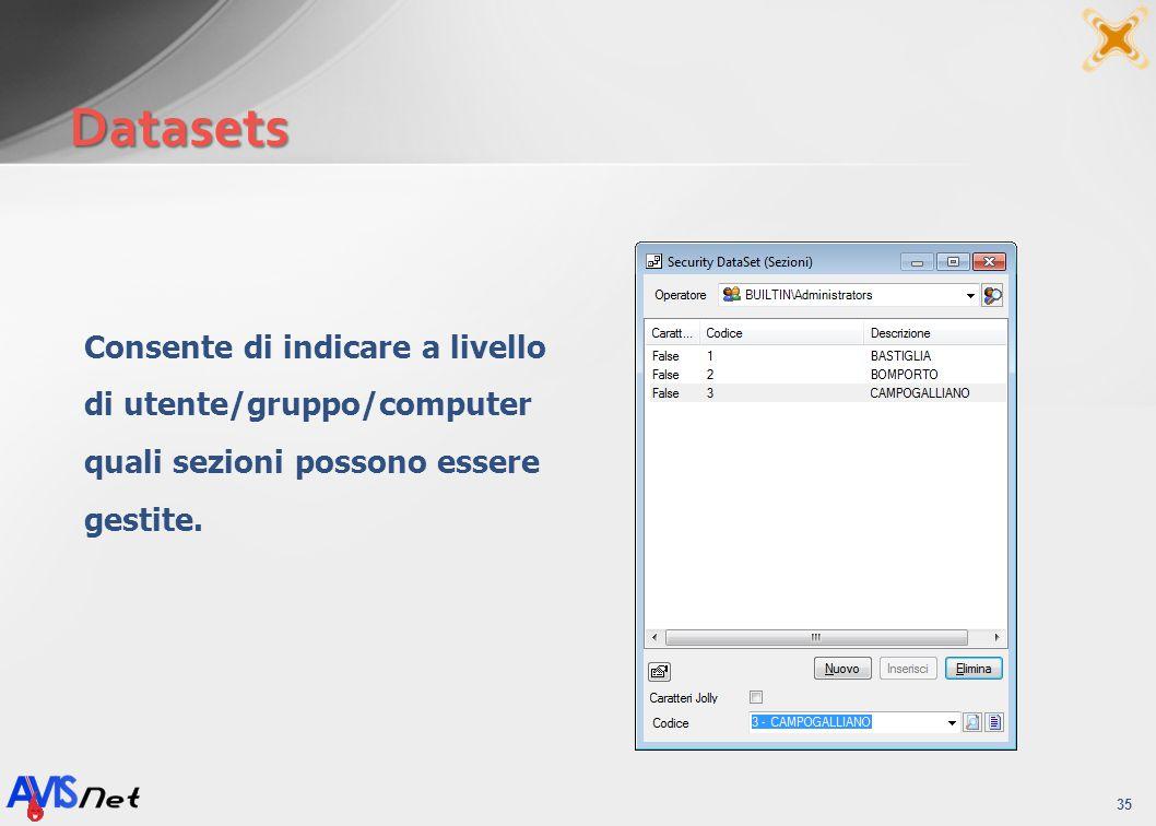 Datasets Consente di indicare a livello di utente/gruppo/computer quali sezioni possono essere gestite.