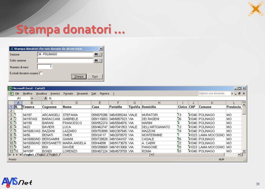 Stampa donatori …