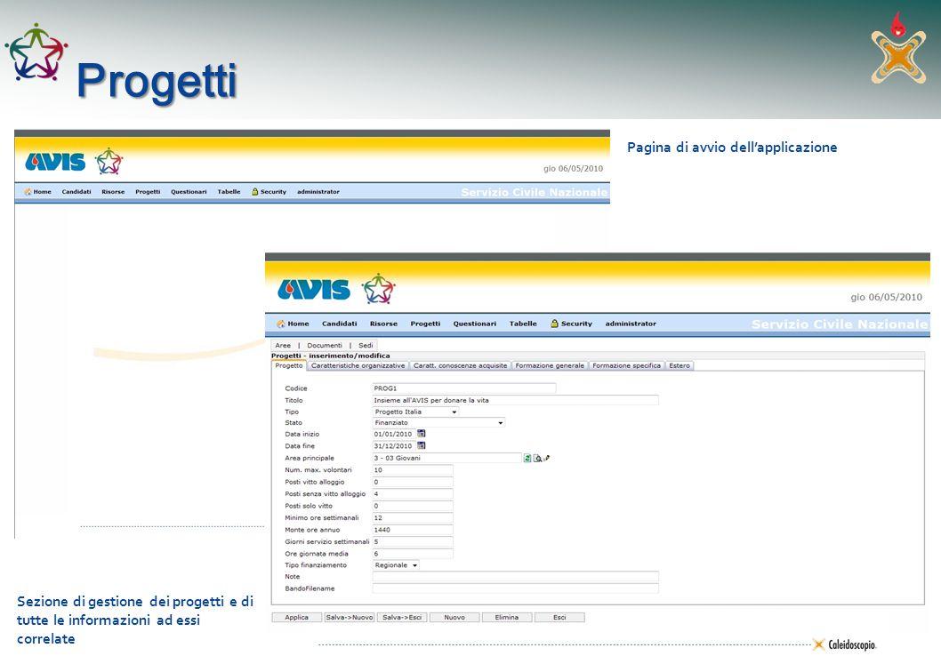 Progetti Pagina di avvio dell'applicazione