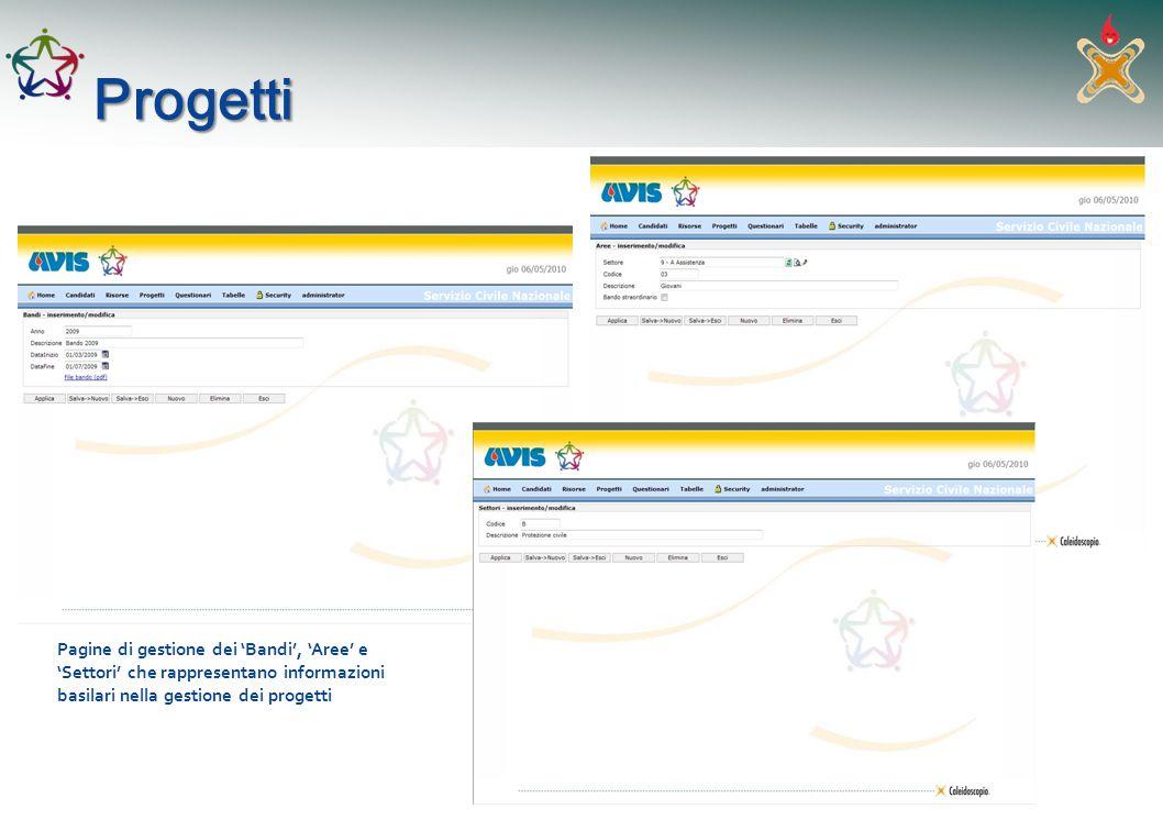 Progetti Pagine di gestione dei 'Bandi', 'Aree' e 'Settori' che rappresentano informazioni basilari nella gestione dei progetti.