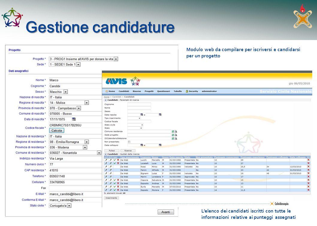Gestione candidature Modulo web da compilare per iscriversi e candidarsi per un progetto.