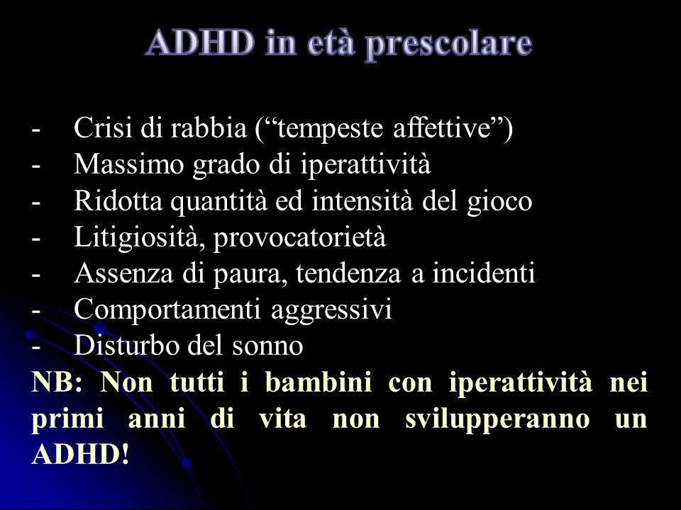 ADHD in età prescolare Crisi di rabbia ( tempeste affettive )