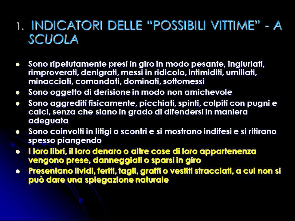 1. INDICATORI DELLE POSSIBILI VITTIME - A SCUOLA