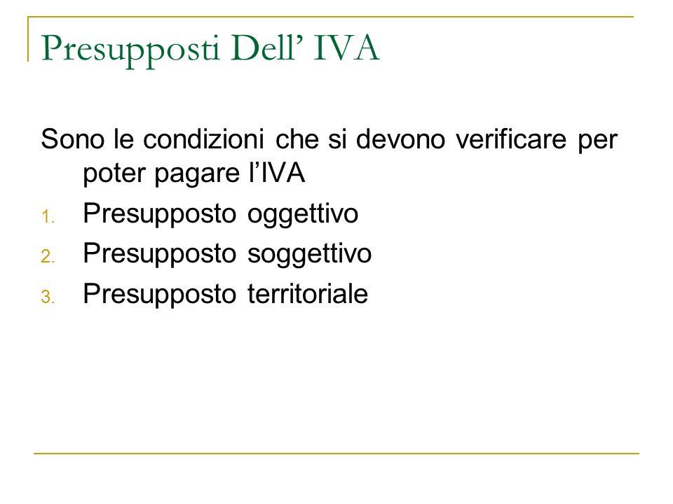 Presupposti Dell' IVA Sono le condizioni che si devono verificare per poter pagare l'IVA. Presupposto oggettivo.