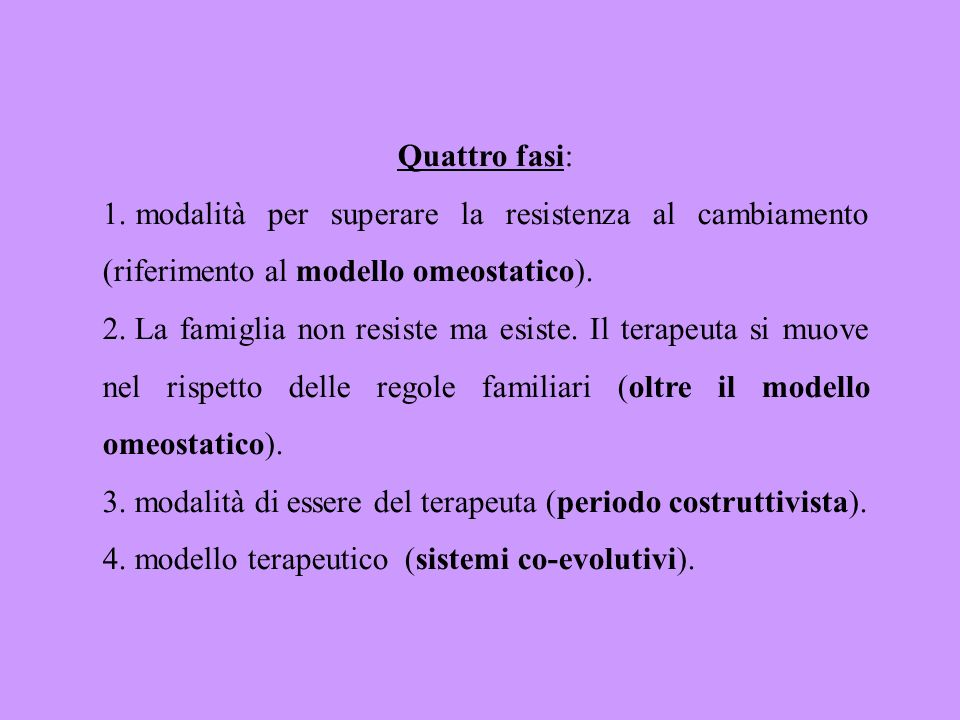 Quattro fasi:modalità per superare la resistenza al cambiamento (riferimento al modello omeostatico).