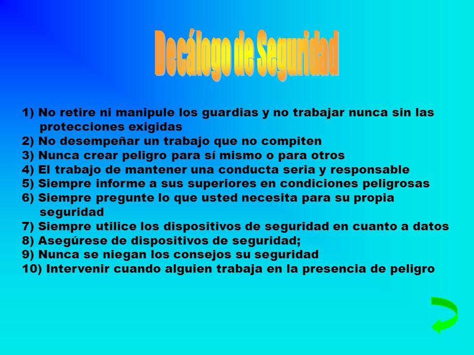 Decálogo de Seguridad1) No retire ni manipule los guardias y no trabajar nunca sin las protecciones exigidas.