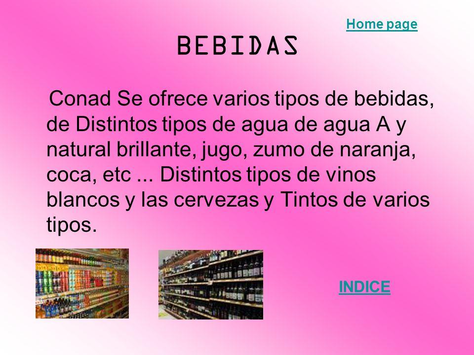 BEBIDAS Home page.