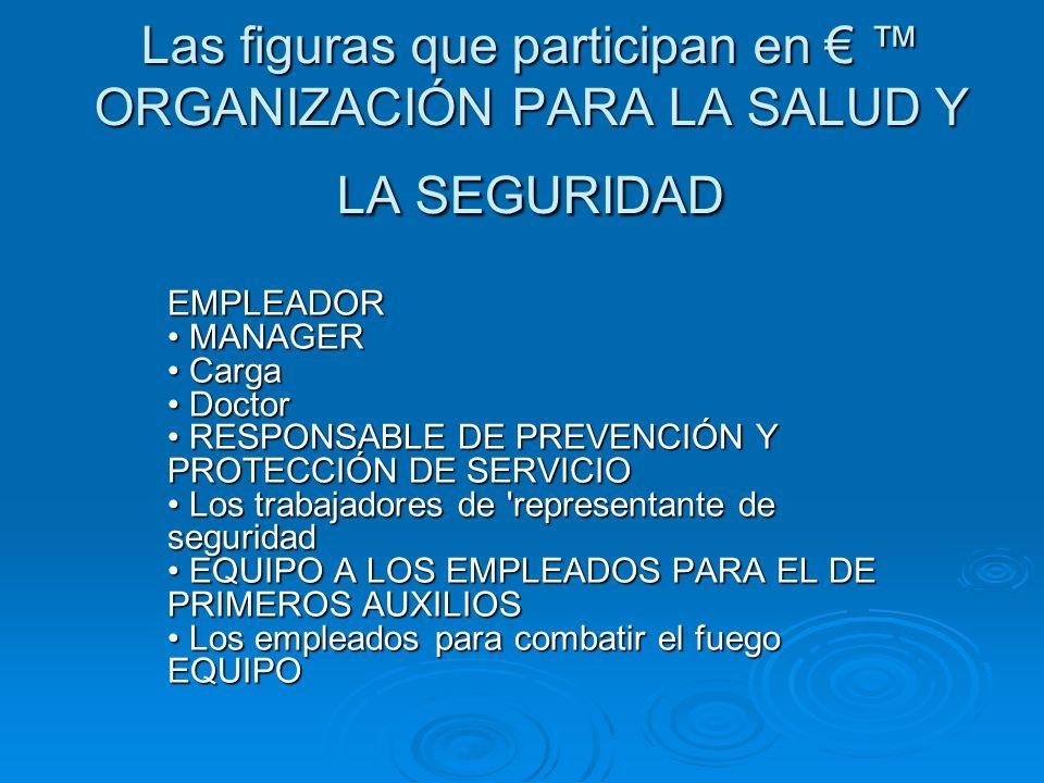 Las figuras que participan en € ™ ORGANIZACIÓN PARA LA SALUD Y LA SEGURIDAD