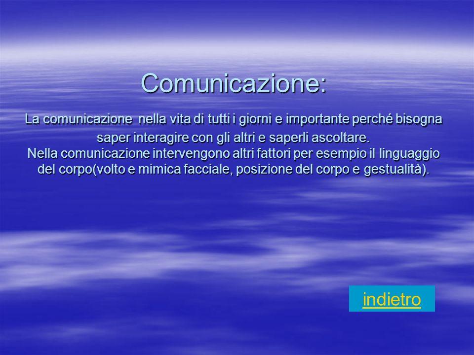 Comunicazione: La comunicazione nella vita di tutti i giorni e importante perché bisogna saper interagire con gli altri e saperli ascoltare. Nella comunicazione intervengono altri fattori per esempio il linguaggio del corpo(volto e mimica facciale, posizione del corpo e gestualità).
