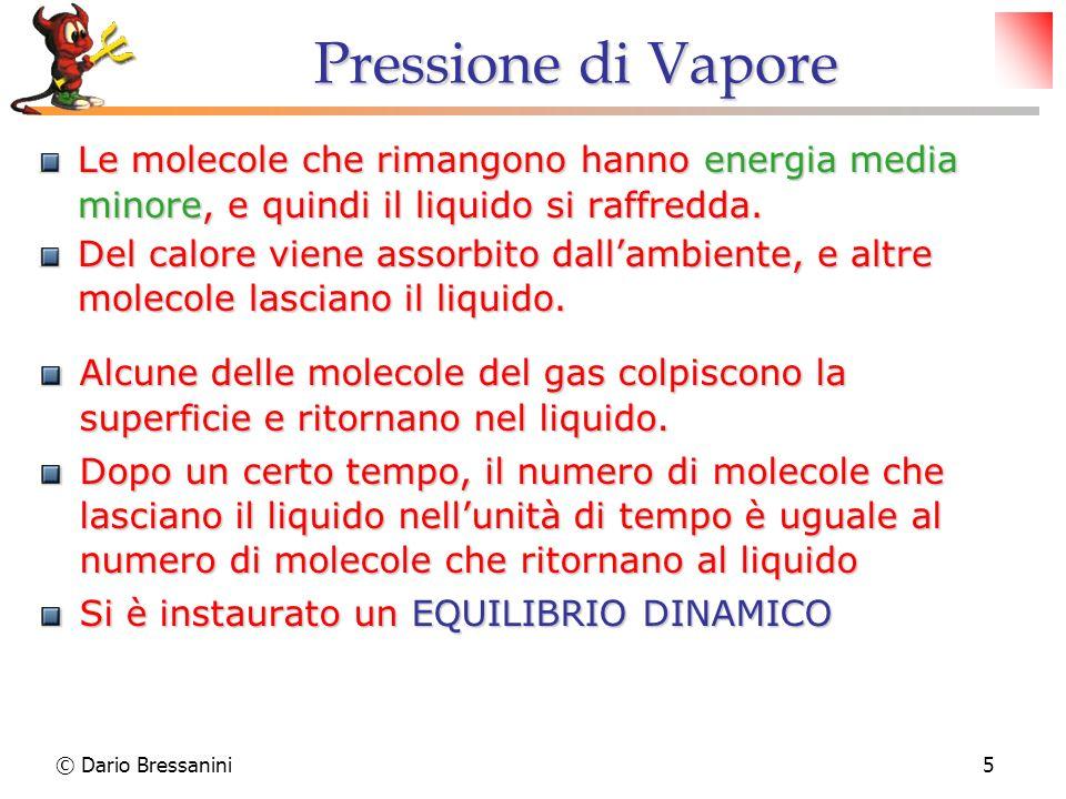 Pressione di Vapore Le molecole che rimangono hanno energia media minore, e quindi il liquido si raffredda.