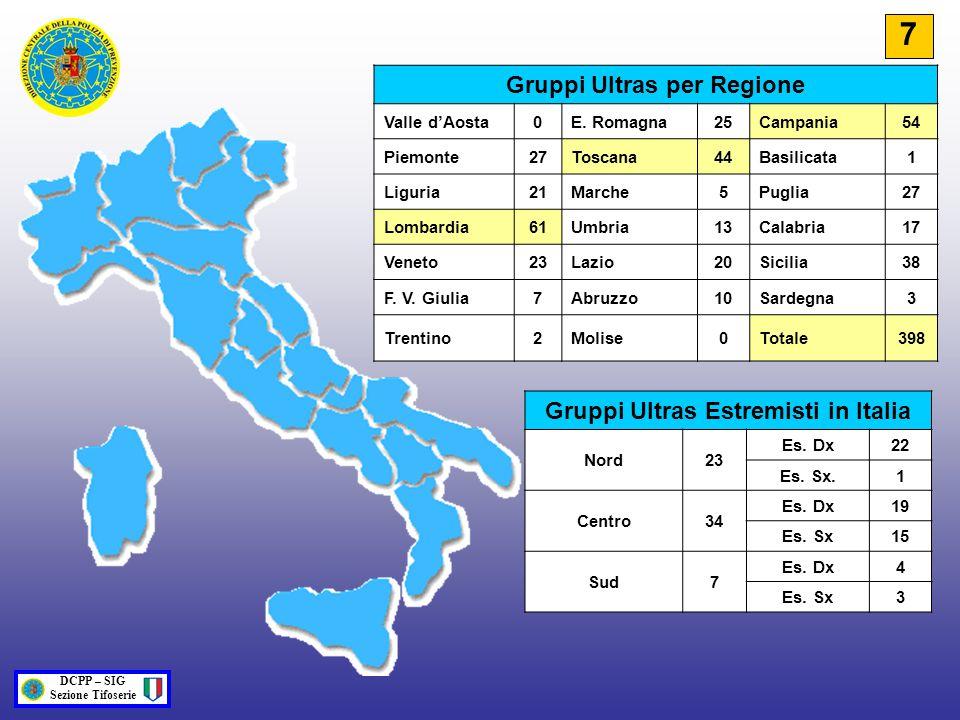 Gruppi Ultras per Regione Gruppi Ultras Estremisti in Italia
