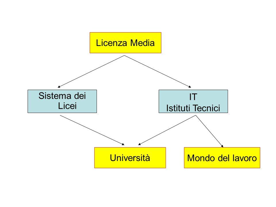 Licenza Media Sistema dei Licei IT Istituti Tecnici Università Mondo del lavoro