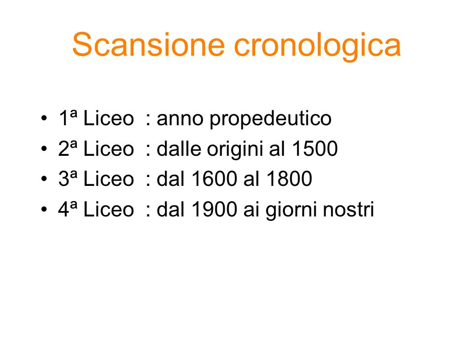Scansione cronologica