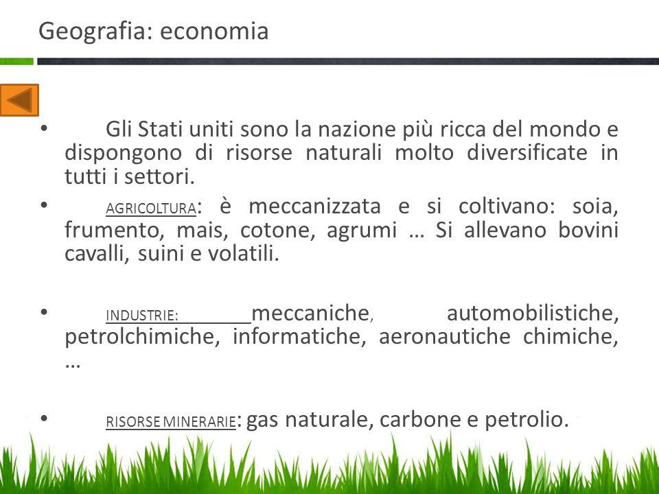 Geografia: economia Gli Stati uniti sono la nazione più ricca del mondo e dispongono di risorse naturali molto diversificate in tutti i settori.