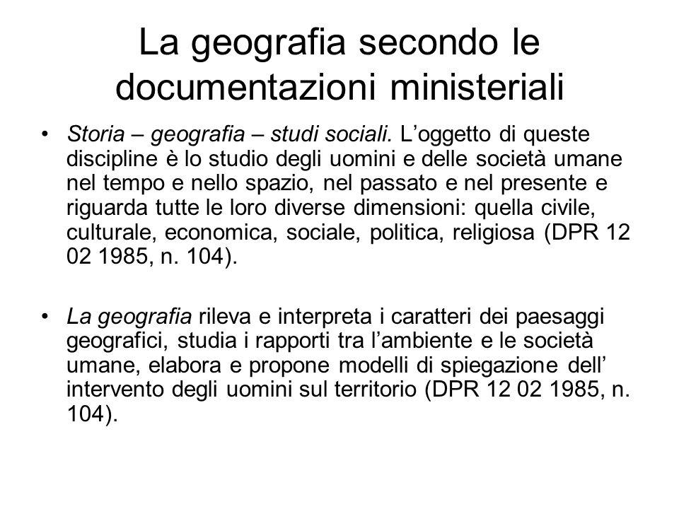La geografia secondo le documentazioni ministeriali