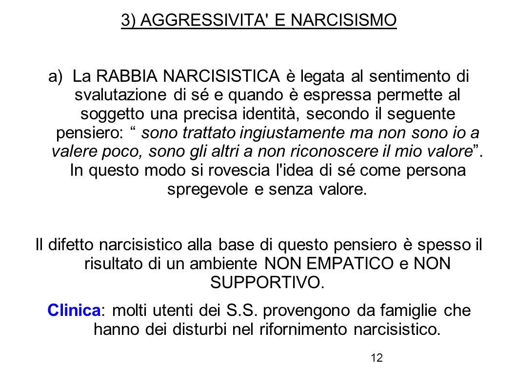 3) AGGRESSIVITA E NARCISISMO